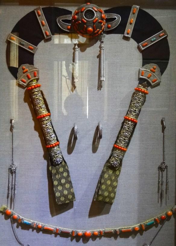 Mongolian hairdo and jewles
