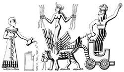 Inanna godess with lions charriot