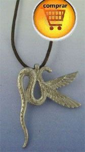 Wadjet snake goodess in silver pendant