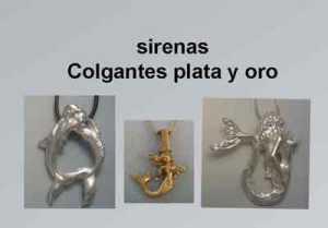 sirenas colgantes de plata y de oro