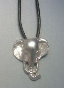 african elephant silver pendant