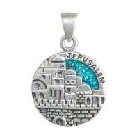 Серебряная подвеска Иерусалим с голубым опалом