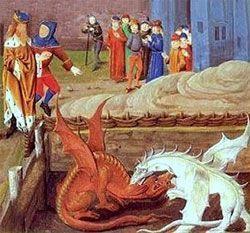 dragon rojo y dragón blanco en lucha