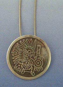colgante Huitzilopochtli dios azteca de la lluvia de plata de ley
