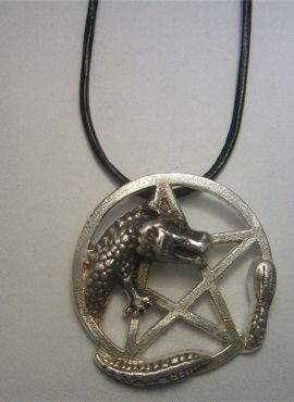 colgante pentáculo del dragón amuleto de plata de ley con cordón de cuero