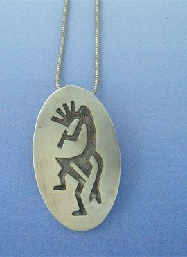 colgante kokopelli de plata