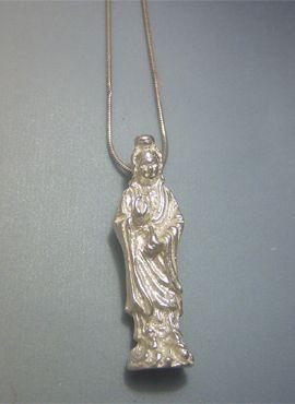 colgante kuan yin bodisawa de plata maciza estatuilla figurilla