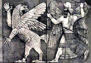 Marduc combatiendo contra Tiamat