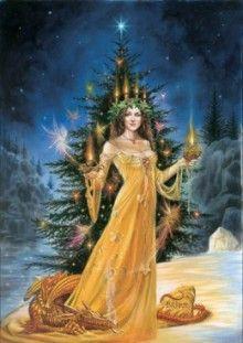 yule y árbol de navidad