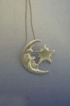 colgante luna y estrella yule vikingo Heusal y Gaeaf en plata de ley