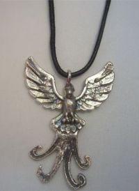 ave fénix de plata colgante amuleto