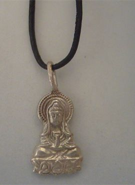 Buda Amitabha de plata colgante amuleto budista
