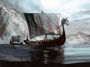 barco vikingo drakkar con la proa de animal de guerra