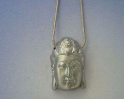colgante Buda Siddharta cabeza de plata amuleto budista