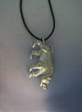 cerdo de plata amuleto budista suerte colgante plata maciza