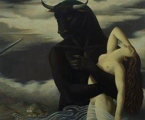 minotauro y doncella víctima