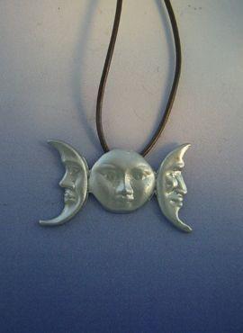 colgante triple luna amuleto de plata de la diosa