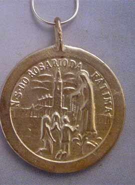 medalla virgen de Fátima colgante plata