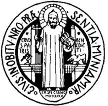 medalla de San Benito con el santo ilustrado