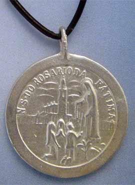 colgante medalla virgen de Fátima en plata