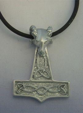 colgante martillo de Thor mjolnir cabeza carnero de plata