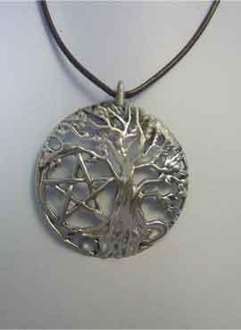 colgante árbol celta pentagrama de la vida con pentaculo