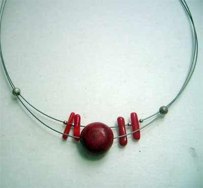 collar mujer de coral rojo. femenino en plata de ley