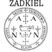 sello de ZADKIEL, angel talismán de plata