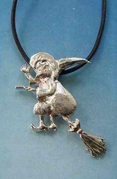 colgante bruja de plata escoba voladora