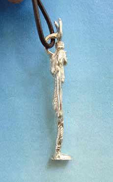 colgante diosa Hathor de Egipto, amuleto de plata perfil