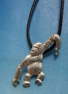 colgante gorila de plata