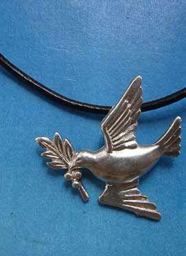 paloma de la paz con rama de olivo plata de ley