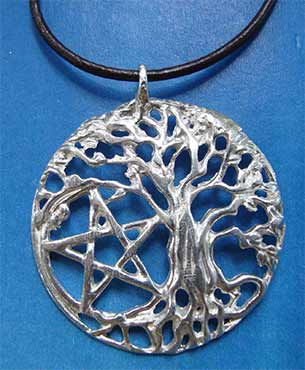 colgante arbol celta pentagrama de plata