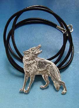 lobo rojo collar de plata amuleto joya