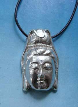 cabeza Quan Yin Kwan Yin Guan Yin Guanyin colgante plata