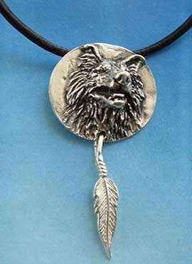 amuleto lobo totem guía colgante de plata