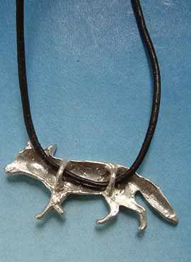 colgante zorro plata parte posterior joya