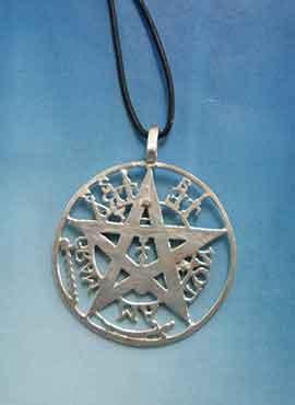 gran tetragrammaton parte trasera colgante de plata