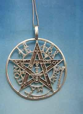 gran colgante del tegragrammaton símbolo grabado finamente en plata de ley, Collar grande