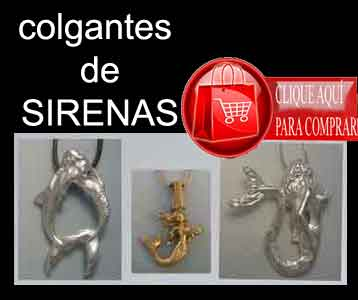 colgante de sirena de plata y oro