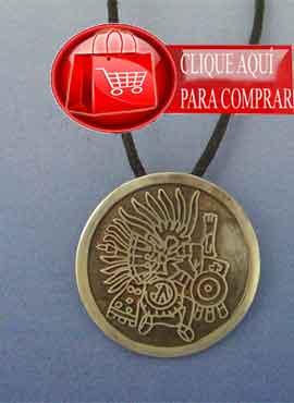 Huitzilopochtli azteca plata colgante amuleto precolombino