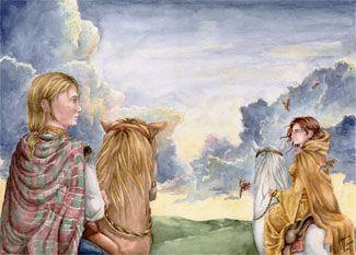 Rhiannon y Pwill cabalgdo