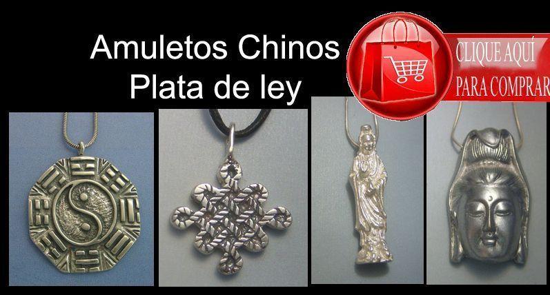 amuletos chinos colgantes de plata