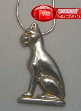 Batet, ladiosa gata, amuleto egipcio de plata