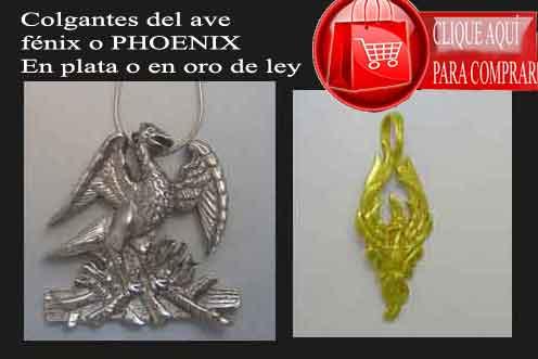 colgantes del ave fénix de plata o de oro