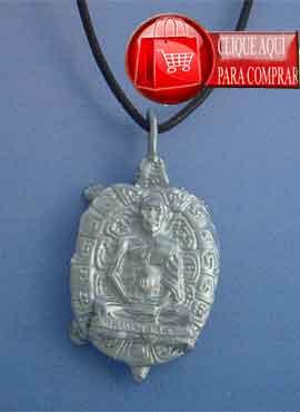 Buda y tortuga de plata, colgante amuleto budismo