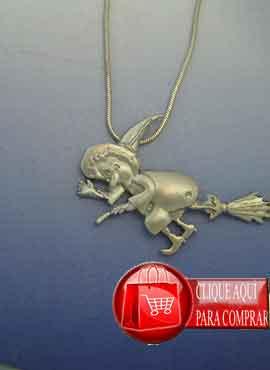 bruja de plata hechicera colgante  amuleto