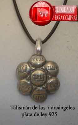 talismán angélico 7 arcángeles de plata de ley