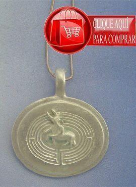 minotauro laberinto colgante de plata