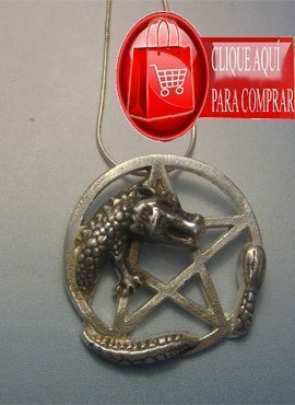 pentáculo del dragón colgante de plata
